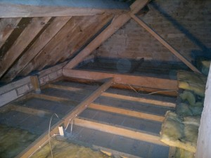 Loft timbers exposed prior to woodworm treatment in Shaftesbury, Motcombe, Dorset
